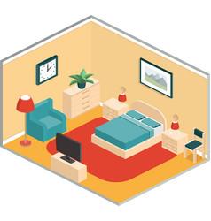 Bedroom retro interior in isometric style vector