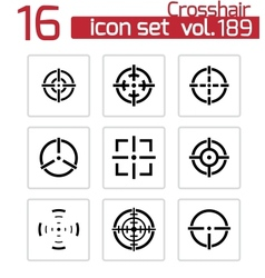 black crosshair icons set vector image
