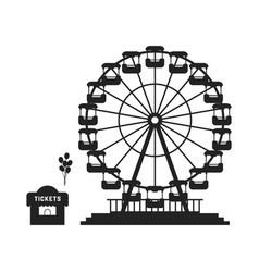 Black ferris wheel with cash desk vector