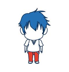 boy anime male manga cartoon comic blue hair vector image