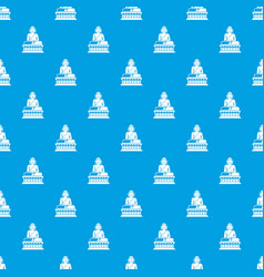 Buddha statue pattern seamless blue vector
