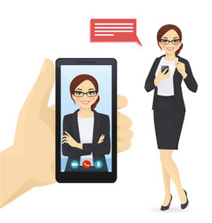 Businesswoman video chat vector