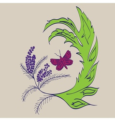 Butterfly with Floral3 vector