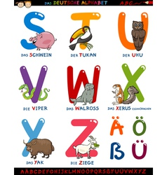 cartoon german alphabet with animals vector image