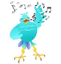 Cartoon happy singing bird vector
