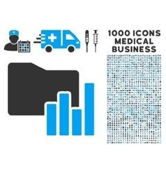 Charts Folder Icon with 1000 Medical Business vector image