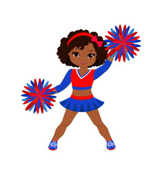 cheerleader in red blue uniform with pom poms vector image