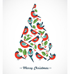 christmas tree composed robins and mistletoes vector image