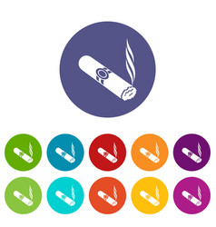 cigar icons set color vector image