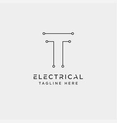 Connect or electrical t logo design icon element vector