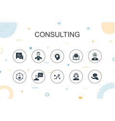 Consulting trendy infographic template thin line vector