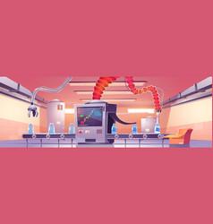 Conveyor belt with milk bottles and robotic arms vector