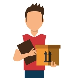 Courier with a box and a document in her hands vector
