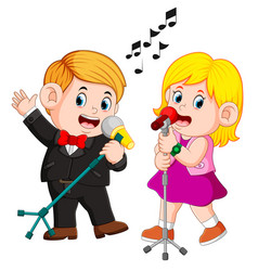 Cute funny couple emotionally singing songs vector