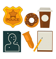 Daily average policeman belongings isolated vector