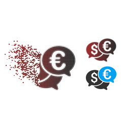 Decomposed pixel halftone currency bids icon vector