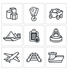 Delivery of goods in different ways icons set vector image