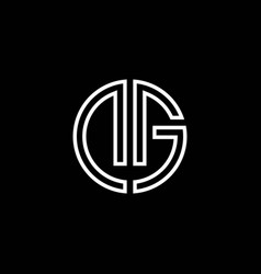 dg monogram logo circle ribbon style outline vector image