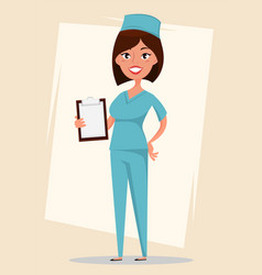 doctor medical worker in blue uniform holding vector image