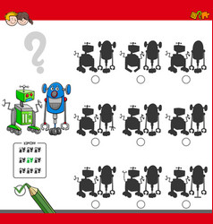 Educational shadow game with robots vector