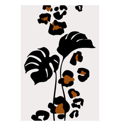 elegant tropical leaves and cartoon leopard vector image