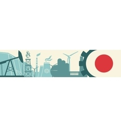 Energy and Power icons set Japan flag vector