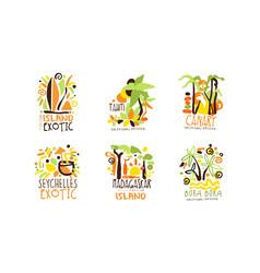 exotic island original design for summer beach vector image