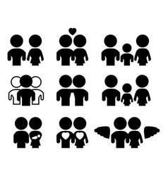 familyrelations silhouette set vector image