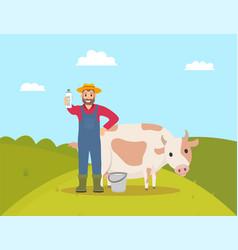 Farmer with milky product vector