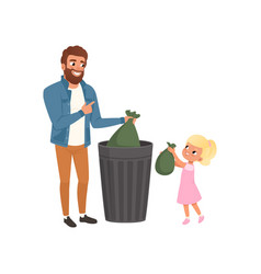 father and his little daughter throwing garbage vector image