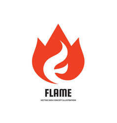 flame with abstract letter f - logo vector image