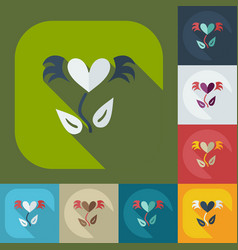 Flat modern design with shadow icons love tree vector