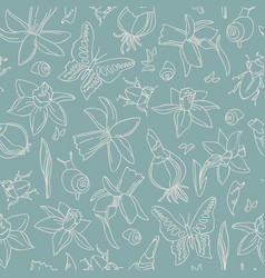 Flowers and bugs seamless pattern vector