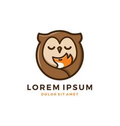 Fox owl baand mom logo vector