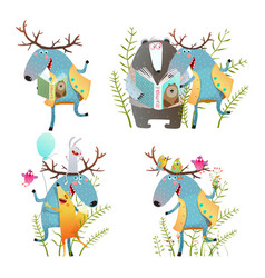 fun moose with bear and fox friend vector image