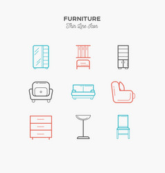 furniture sofa table chair curbstone and more vector image