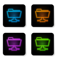 glowing neon ftp folder icon on white background vector image