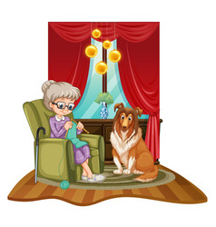Grandmother knits on sofa with dog beside her vector