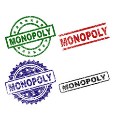 Grunge textured monopoly seal stamps vector