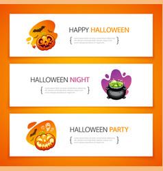 Halloween horizontal banners light set vector