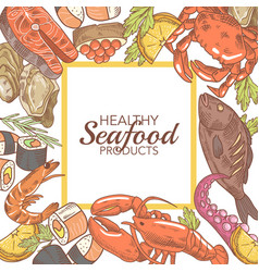 hand drawn seafood design with fish crab vector image