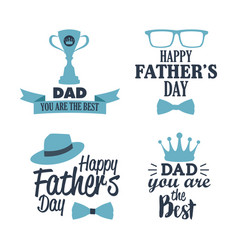 happy father day best dad badge element set blue vector image