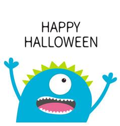 Happy halloween card screaming spooky monster vector