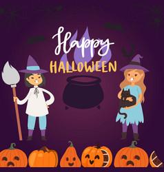 happy halloween greeting card vector image