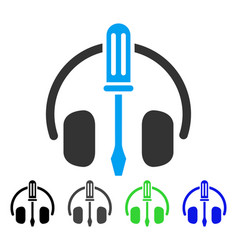 Headphones tuning screwdriver flat icon vector