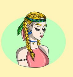 Hippie blonde girl - free spirit vector