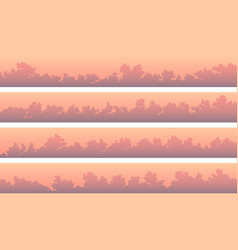 Horizontal banners with cumulus clouds at pink vector