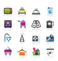 hotel and motel room facilities icons vector image vector image