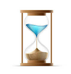 Icon hourglass with the sand and water global vector
