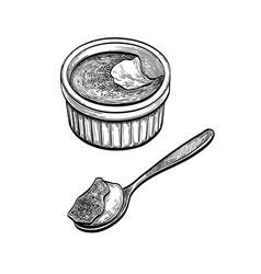 Ink sketch creme brulee vector